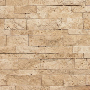 Ivory Travertine Random Strip Splitface Ledgestone