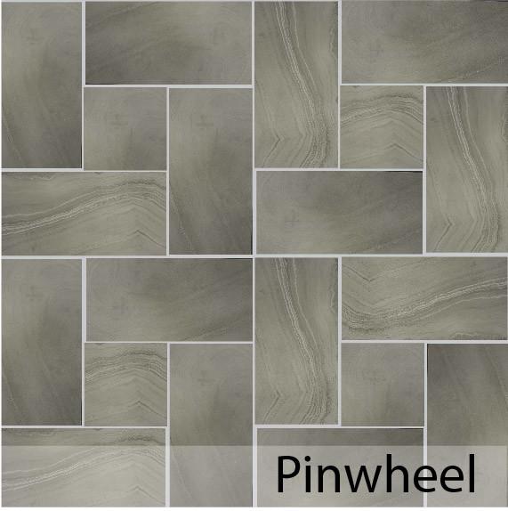 Pinwheel tile patterns for floors