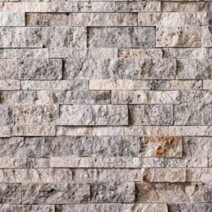 Silver Travertine Random Strip Splitface Ledgestone