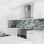Cathedral Glass Mosaic Installed in a kitchen