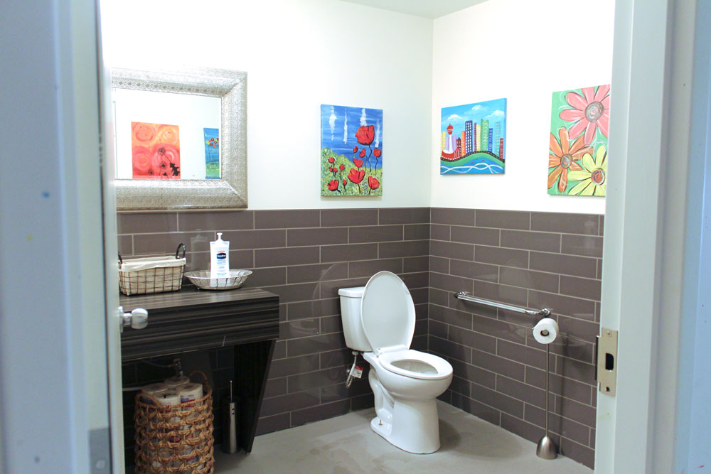 Soho Taupe 4x16 installed on bathroom walls