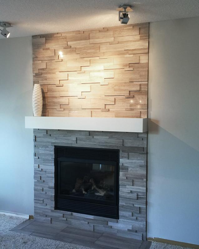 Grey Wood Grain Tile Wooden White Cubic Random Strip Ledgestone - SALE - Tile ...