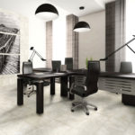 Ivory Travertine Installed in an office