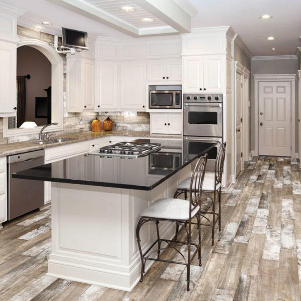Muskoka Saddle Wood Imitation installed in a kitchen