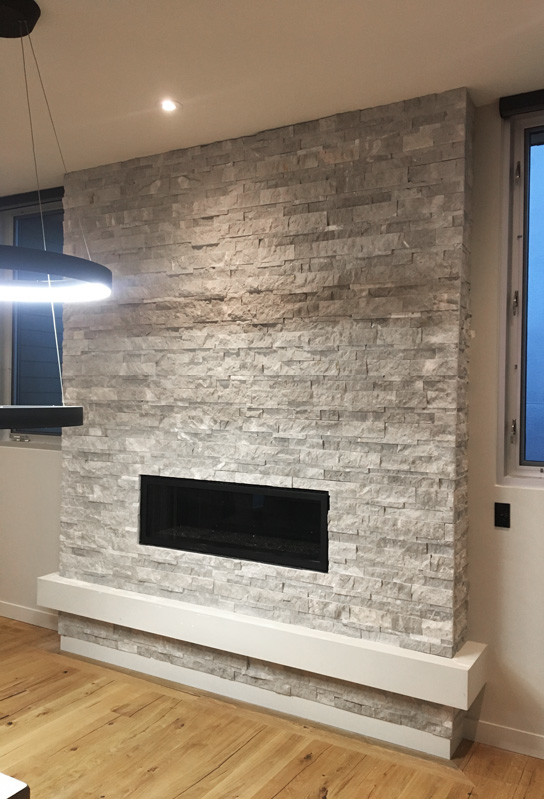 Ritz Gray Marble Splitface Installed On A Fireplace Sale