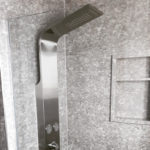 Fossil Grey Bolder Stone Panel installed in a shower