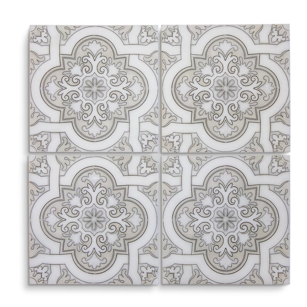 Jeffrey court spanish cathedral statuario sale tile for Spanish decorative tile