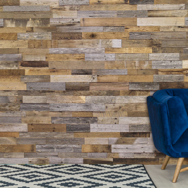 Harvest Hillside Wood Panels installed as a feature wall