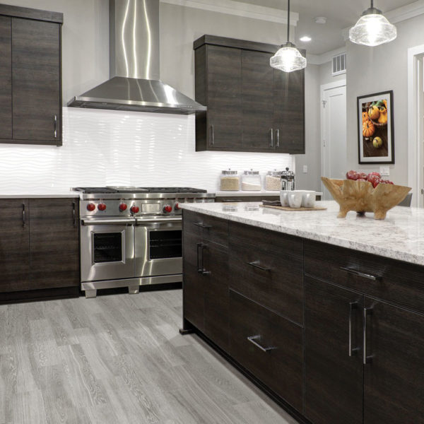Linea Oblique Glossy White Wall Tile installed as a backsplash