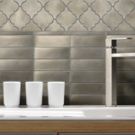 Satin Metal Nickel 2x6 Stacked Mosaic and Arabesque Mosaic installed as a backsplash