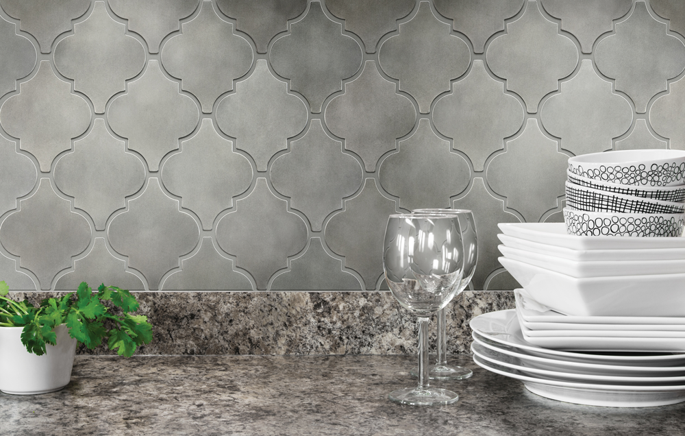 Satin Metal Pewter* Arabesque Mosaic